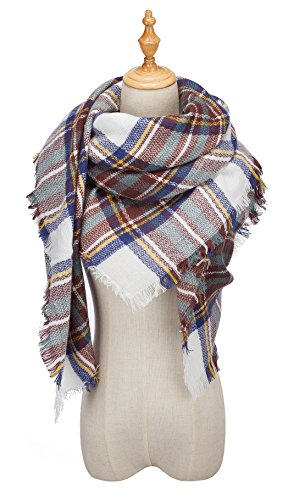 Viishow Fever Stylish Warm Blanket Scarf Gorgeous Wrap Shawl I White Blue One Size