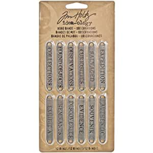Tim Holtz Idea-ology Metal Word Bands by, Observations, 12 Pieces, 0.4 x 2.25 Inches Each, Antique Nickel, TH93084