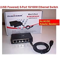 DualComm Mini 5-Port 10/100 Ethernet LAN Switch (USB Powered)