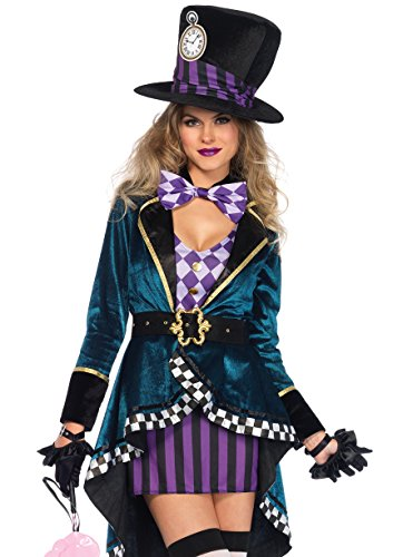 Leg Avenue Women's Delightful Hatter Costume, Multi,