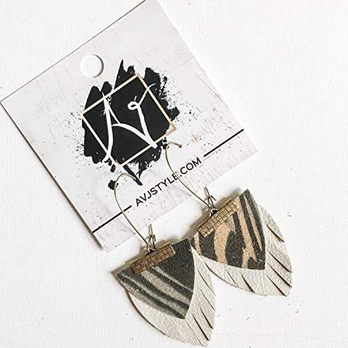 Layered Genuine Leather Earrings/Jungle Giraffe/Green & Natural White/Boho Fringe Earrings/Drop Earrings/Arrowhead Earrings/Statement - Layered Animals