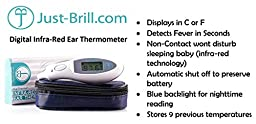 DigiThermo Digital Baby Ear Thermometer Quick Read with Infrared - Non Contact - Celsius & Fahrenheit - Best for Babies, Kids and Adults by Just-Brill