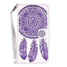 "AENMIL For Samsung Glaxy S5 Campanula Flowers Embossed Smartphone Case, 5.1"" Clutch Wallet Design PU leather Shell, Shockproof Dust Resistant Protective Cover - Style 5"