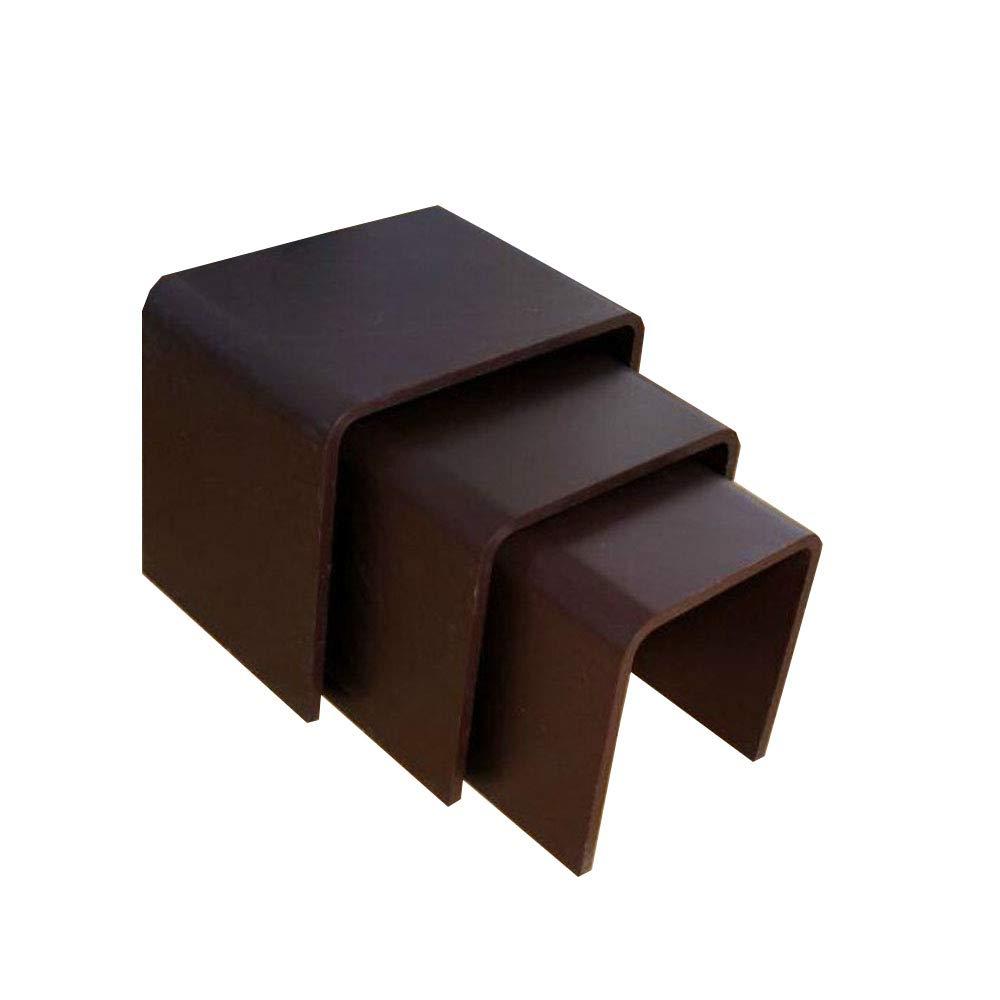 YNN ポータブルテーブル ネスティングコーヒーテーブルMDF 3ピースモダンサイドエンドテーブル3つの黒の白のリビングルームのための高光沢のセット (色 : 黒)  黒 B07PD25R4K