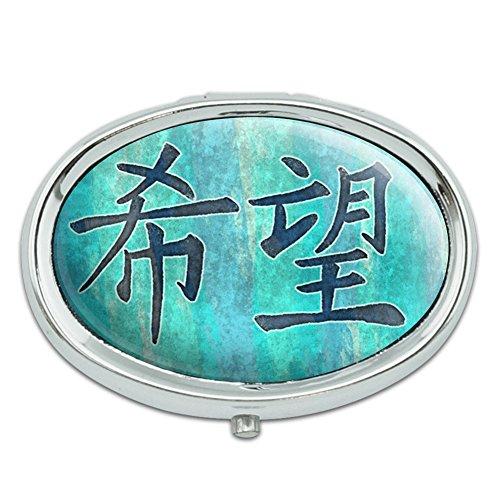 Símbolo chino para la esperanza Metal ovalada pastillero caso
