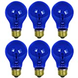 Sunlite 25A/TB/B/6PK Incandescent Blue A19 25W Light Bulbs with Medium E26 Base (6 Pack)