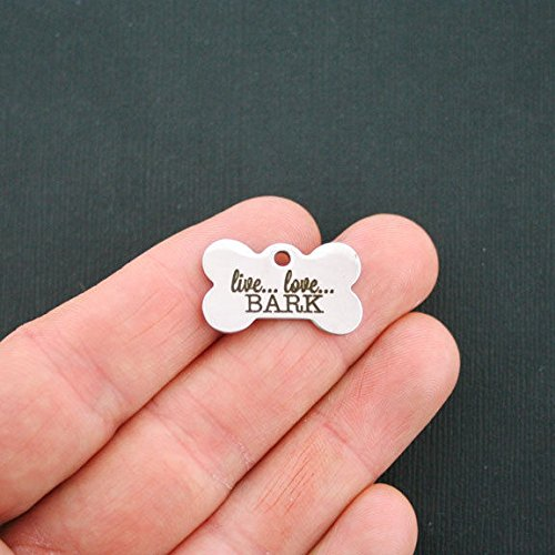 Dog Stainless Steel Charm Dog Bone - Live Love Bark - Quantity Options - WC838 Jewelry Making Supply Pendant Bracelet DIY Crafting by Wholesale Charms