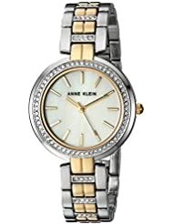 Anne Klein Womens AK/2969MPTT Swarovski Crystal Accented Two-Tone Bracelet Watch