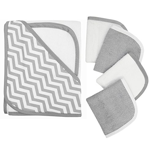American Baby Company Hooded Terry Cloth Towel and 4 Piece Organic Cotton Washcloth Set, Grey Zigzag (5 Piece Washcloth Set)