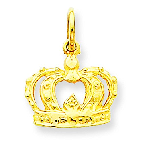 14K Gold Crown Charm Pendant Jewelry 15 x 10mm