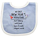 Inktastic - My First New Year's Resolutions Baby Bib Blue/White