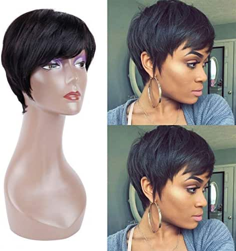 Creamily Human Hair Short Wigs Pixie Cut Brazilian Layered Black Hair #1B Natural None Lace Replacement Wigs with bangs