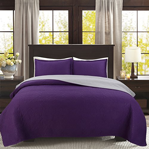 "QUALITEX Solid Color 3-piece Reversible Bedspread Bed Coverlets Cover Sets California King Size: 106"" x 91"""
