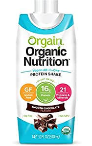 Orgain Plant Based Organic Vegan Nutrition Shake, Smooth Chocolate, 11 Ounce, 12 Count, Non-GMO, Gluten Free, Dairy Free, Packaging May Vary