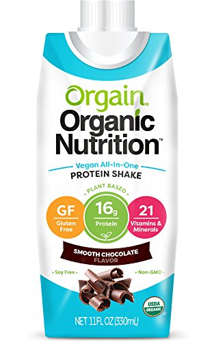 Orgain Plant Based Organic Vegan Nutrition Shake, Smooth Chocolate, 11 Ounce, Packaging May Vary