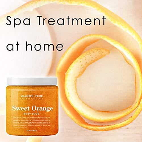 Majestic Pure Sweet Orange Body Scrub – Exfoliates, Moisturizes, and Nourishes Skin, 10 oz