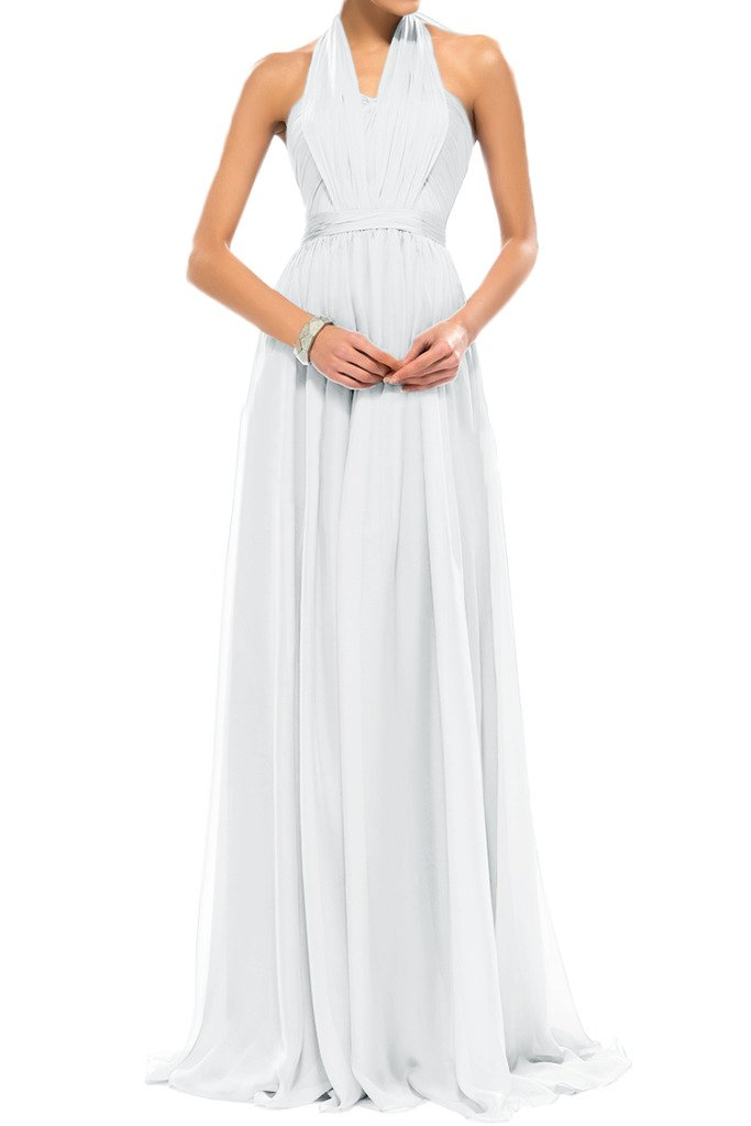Sunvary Halter Floor Length Chiffon Summer Prom Bridesmaid Dresses Size 26W- White