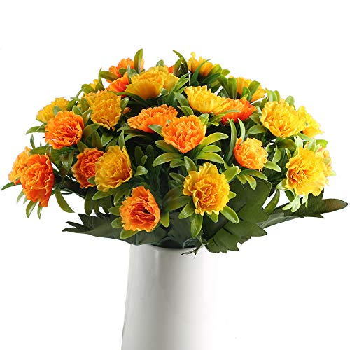 GTIDEA Artificial Carnations Silk Flowers Bouquets Indoor Outdoor Wedding Funeral Cemetery Table Centerpieces Arrangements Corsage Mother's Day Decor Pack of 4 ()
