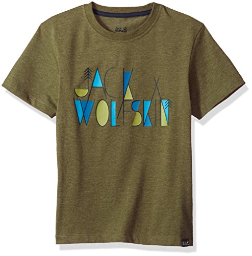 Jack Wolfskin Boy's Brand T T-Shirt Short Sleeve, 176 (14 Years & Older), Woodland Green by Jack Wolfskin