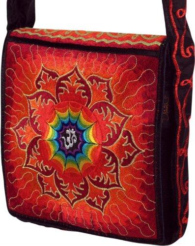 Guru-Shop Hippie Tasche, Bestickte Motivtasche OM, Herren/Damen, Rot, Kunstfaser, Size:One Size, 22x22x5 cm, Alternative Umhängetasche, Handtasche aus Stoff