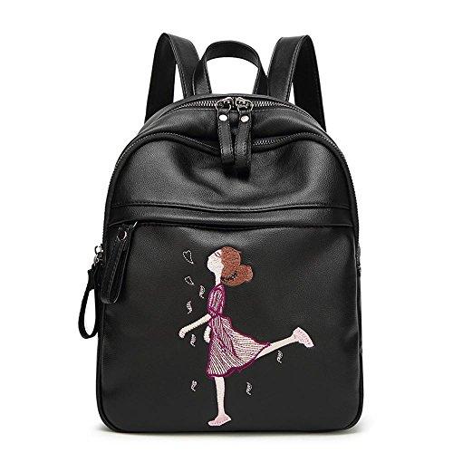 Aoligei Sac à bandoulière fashion unique épaule sac féminin loisir broderie sac à dos femmes étudiant