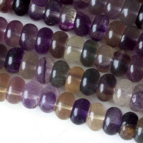 Fluorite Rondelle Beads - Cherry Blossom Beads Fluorite Beads 5x8mm Smooth Rondelle - 8 Inch Strand