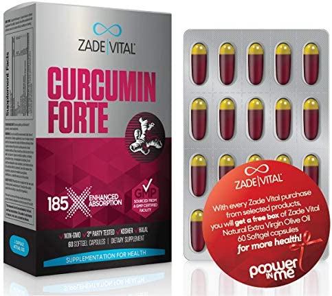 Zade Vital Curcumin Forte, Support Immune Digestive Joint Heart Health, Dietary Supplement, 185x Better Absorption, 1000 MG, 60 Softgels, Non GMO, Kosher, GMP, 2 Months Supply, Free Gift