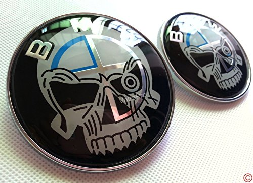 B M W Skull 74mm and 82mm Badge Emblem Chrome For BMW Hood/Trunk, Replacement Boot Bonnet Badge Emblem (Bmw Emblem E60)