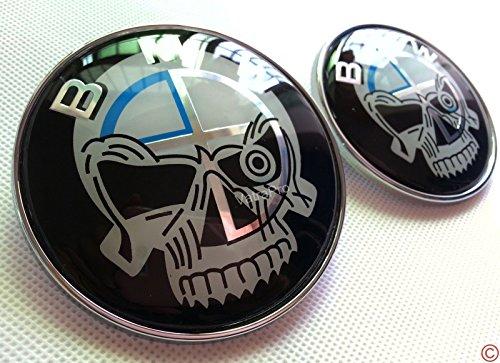 B M W Skull 74mm and 82mm Badge Emblem Chrome For BMW Hood/Trunk, Replacement Boot Bonnet Badge Emblem (Bmw Emblem E60)
