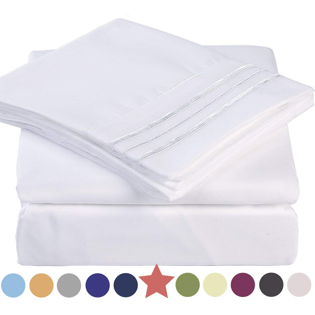 Premium 4 Piece Bed Sheet Set 1800 Thread Count Bedding 100% Microfiber Polyester - Silky Soft, Warm, Breathable, Cooling, Wrinkle and Fade Resistant - 10-16'' Extra Deep Pockets - Queen, White