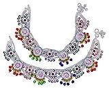 Banithani Indian Bridal Designer Payal Silvertone Screw Lock Anklet Set Wedding Jewelry