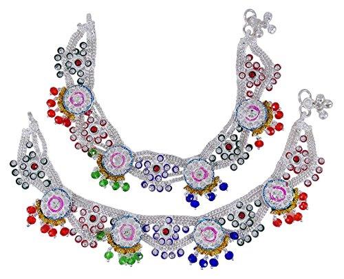 Banithani Indian Bridal Designer Payal Silvertone Screw Lock Anklet Set Wedding Jewelry by Banithani