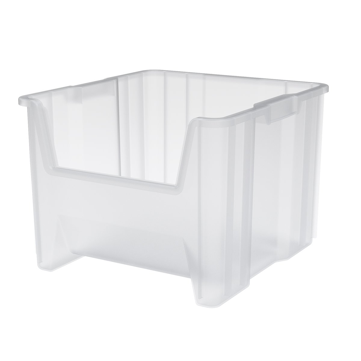 Akro-Mils 13018 Stak-N-Store Stacking Hopper Front Plastic Storage Bin, Clear, Case of 2