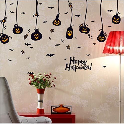JQSM Removable Halloween Scary DIY Cartoon Bats Pumpkin Head Glass Window Wall Sticker Bedroom Home Decoration Party Ornament 60X90Cm -