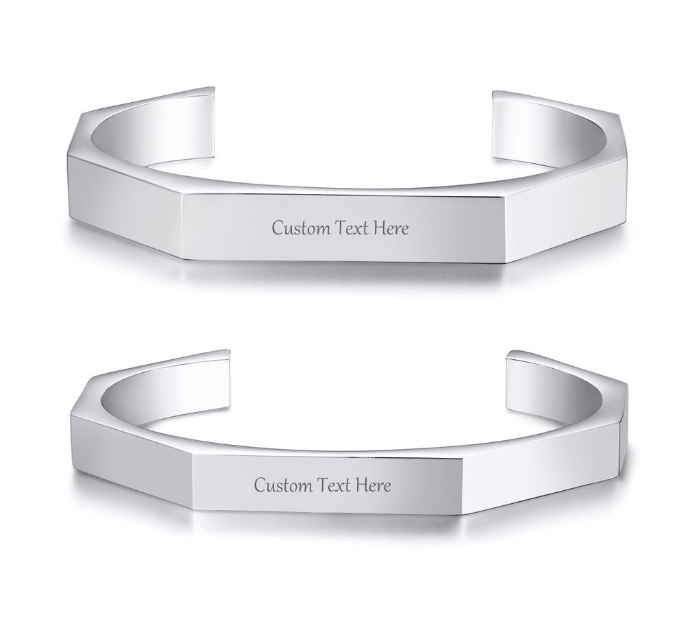 VNOX Customize Couple Bracelet Bent Open Hexagon Geometric Stainless Steel Matching Cuff Bangle for Him/Her