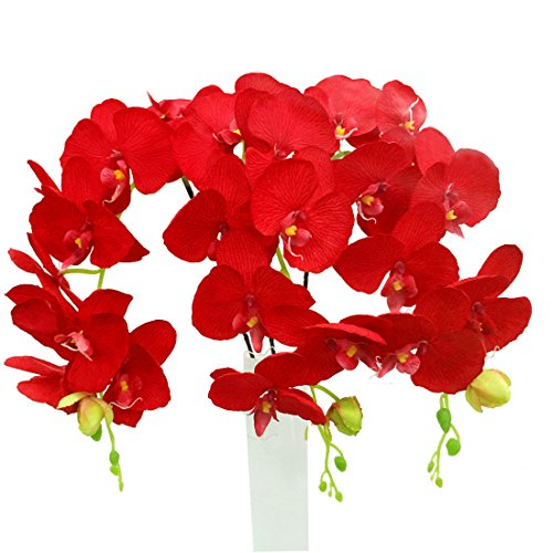 Calcifer 10 Pcs(8 Flower Heads/Pcs) 39.37'' Artificial Silk Phalaenopsis Orchid Stem Bouquets Artificial Flowers for Wedding Party Home Garden Decoration (Hot Red)