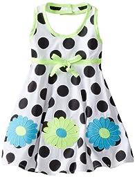 Blueberi Boulevard Baby Girls\' Flower Dot Halter Sundress, Black, 18 Months