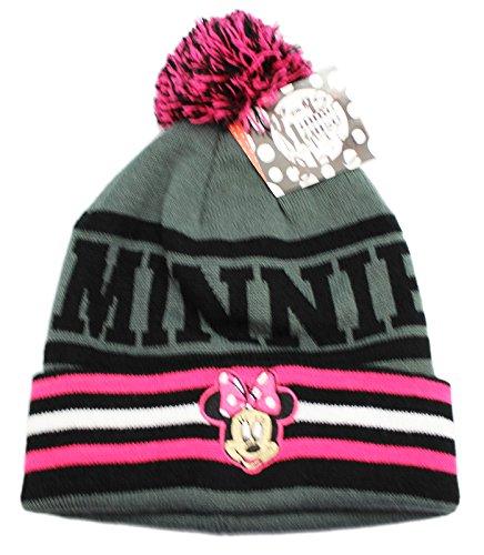 Minnie Mouse Embriodary Knitted Winter Beanie Pom Pom
