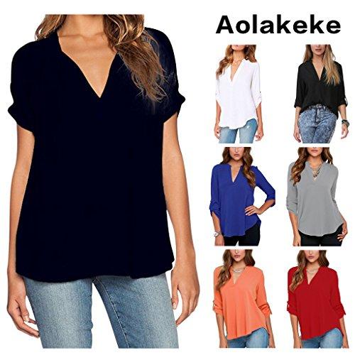 Aolakeke Chiffon Blouse Sleeve Shirts
