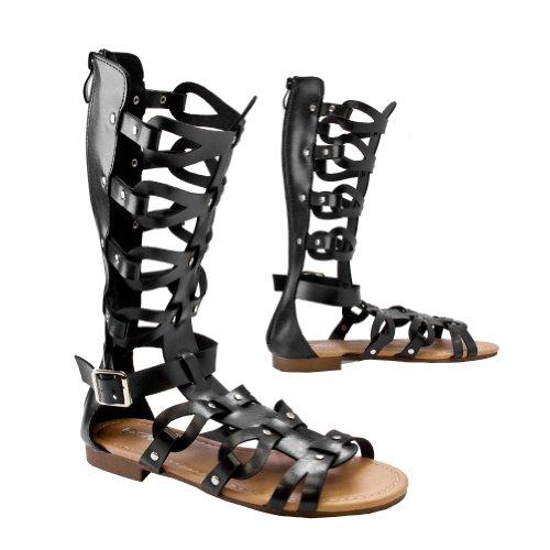Atta 07 Sandalias Planas Con Tirantes Gladiador Enjaulada Para Mujer Black Hi
