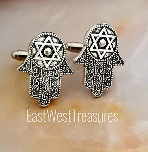 Jewish cufflinks cuff links-Star of David cufflinks-Hamsa hand Judaica Hebrew accessory gift for men