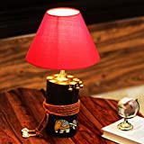 ExclusiveLane 'The Red-Shade Log' Madhubani Hand-Painted Table Lamp In Wood - Table Lamps For Living Room Bedroom Entryway Study Desk Kids Bedroom Lamps And Lanterns