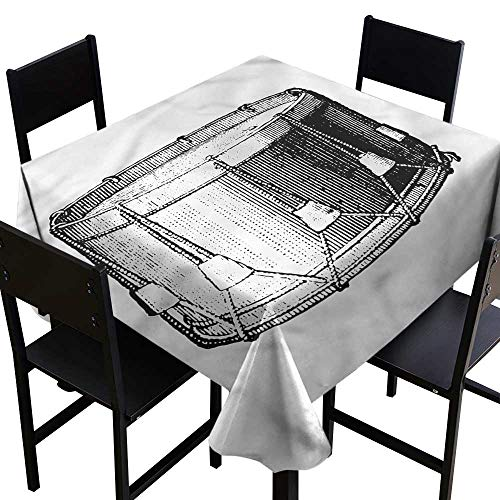 (haommhome Square Tablecloth Snare Drum Vintage Style Art Melody Soft and Smooth Surface W63 xL63 for Kitchen Dinning Tabletop Decoration)
