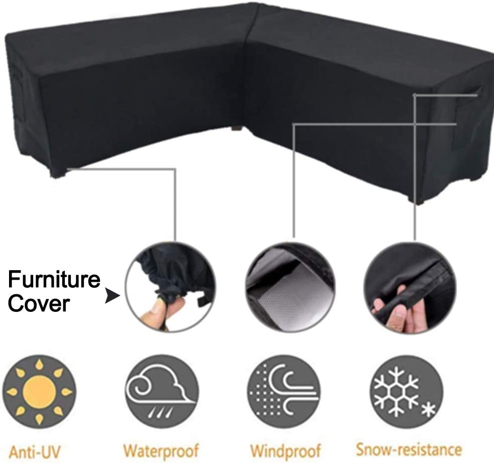 Furniture Patio Sectional Sofa Covers Outdoor Waterproof Dustproof Anti UV Furniture Protector V Shape Furniture Cover