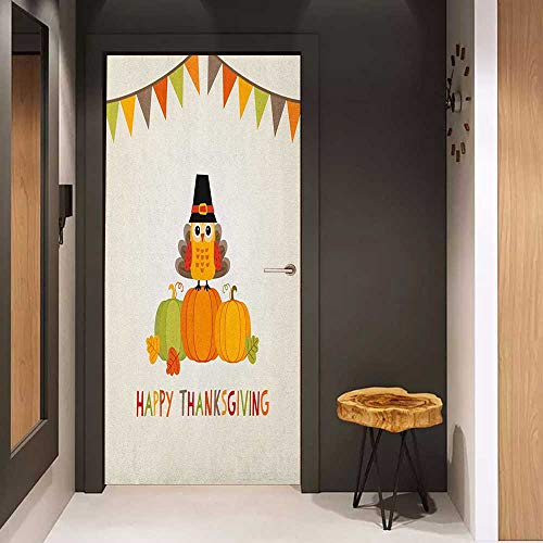 Onefzc Soliciting Sticker for Door Turkey Little Bird Sitting on Pumpkins with Pilgrims Hat Festive Autumn Holiday Design Mural Wallpaper W35.4 x H78.7 Multicolor