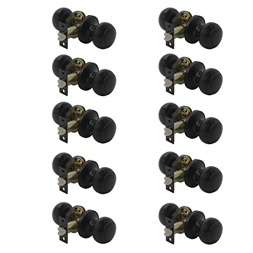 - Gobrico Flat Ball Black Passage Door Locksets Hall and Closet Door Knobs no Key 10Pack