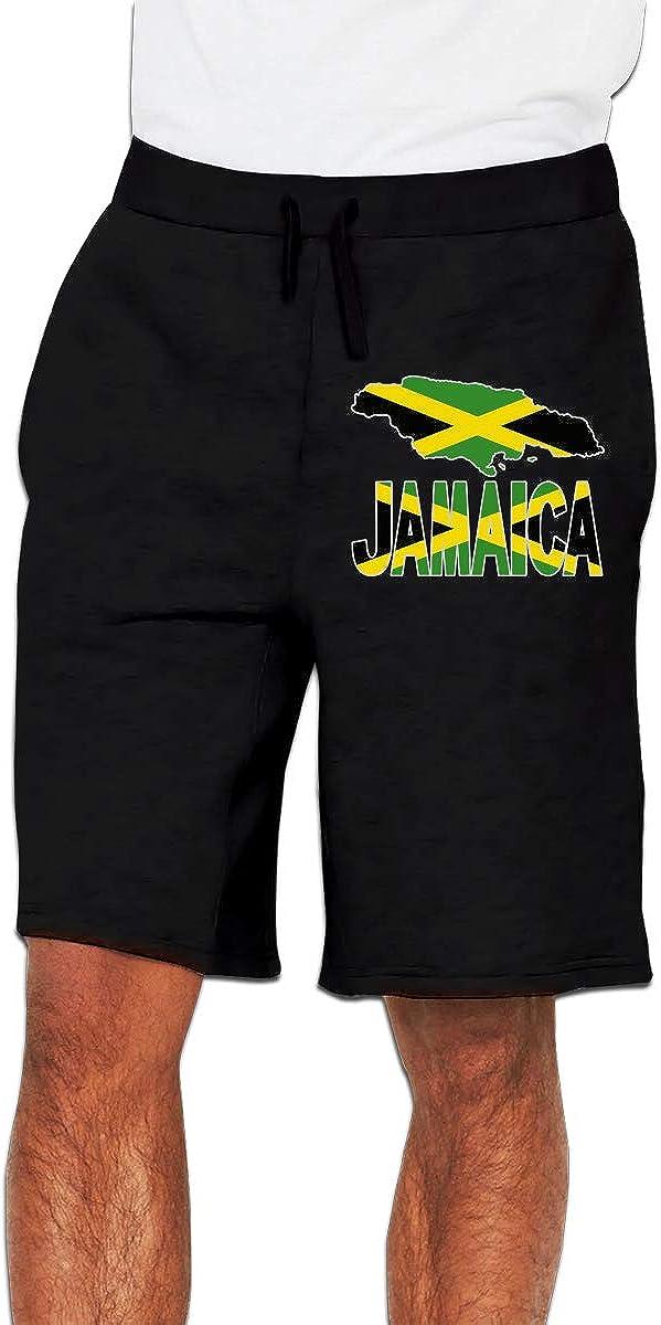Yecx-1 Men's Jamaica Flag with Jamaican Map Jogger Shorts Gym Short