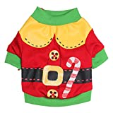 Freerun Small Dog Customes Pet Dog Cat Santa Sweater Cat Clothes Pet Puppy Dog Shirt Coat Costume - Red, L