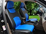 115909 Bk/Blue-Leather Like 2 Front Car Seat Covers Compatible to HYUNDAI ACCENT SONATA HYBRID SONATA PLUG-IN TUCSON FUEL CELL 2017-2007
