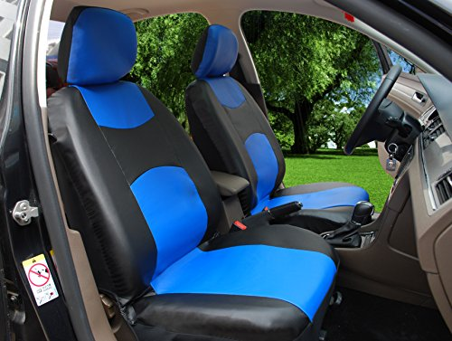 Leather Black Like Seat - 115909 Bk/Blue-Leather Like 2 Front Car Seat Covers Compatible to Dodge Charger Challenger Dart Journey Durango 2017-2007